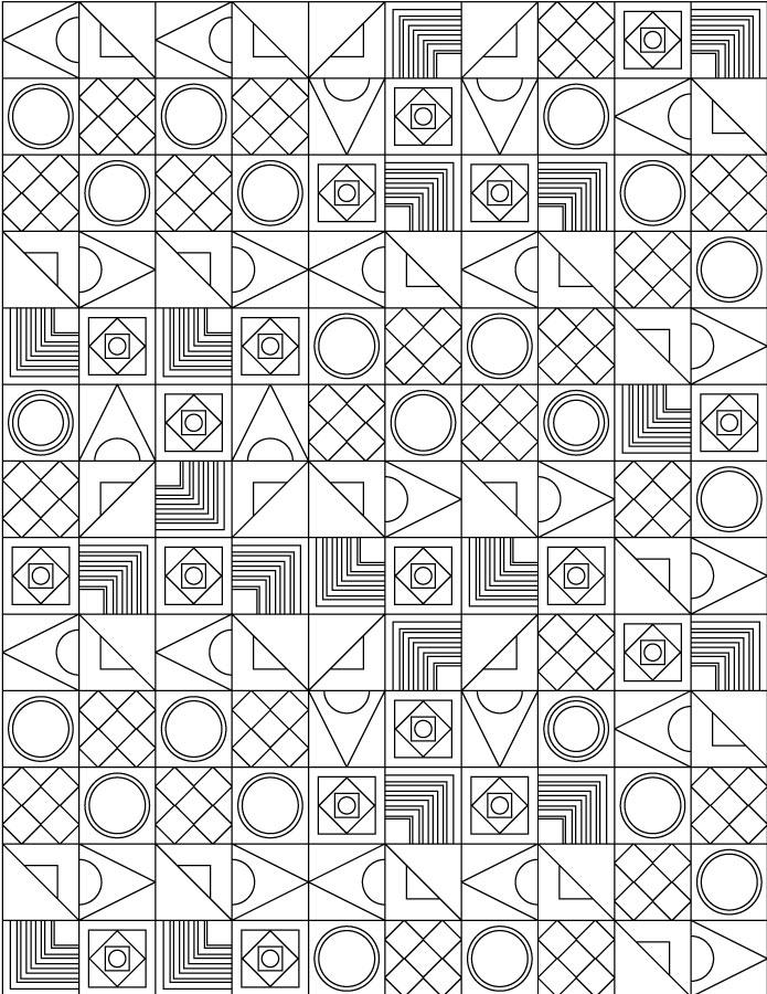 Doodle motif géométrique coloriage difficile