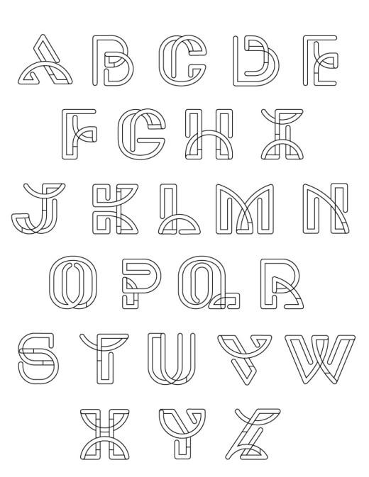 Lettre alphabet néon pour coloriage