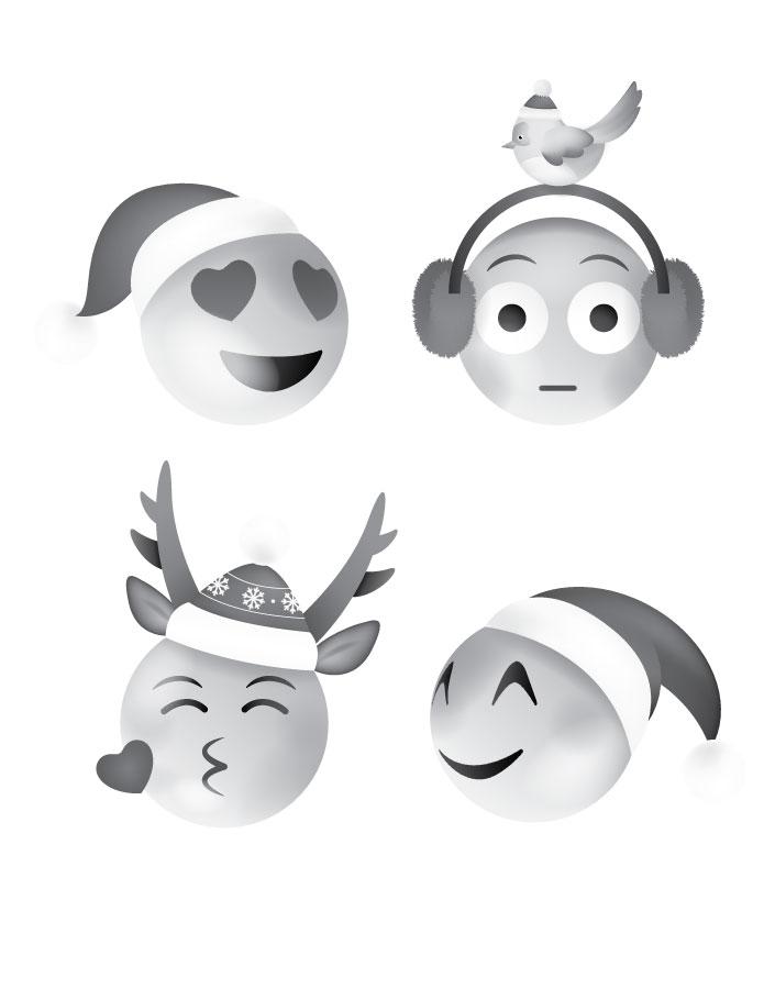 Coloriage emoji Noël à imprimer gratuit
