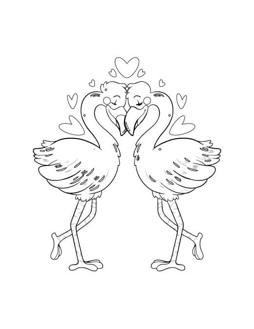 Flamant à colorier pour St-Valentin