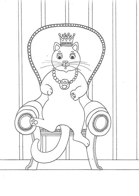 Chat majesté à colorier par Marie Claude Fontaine
