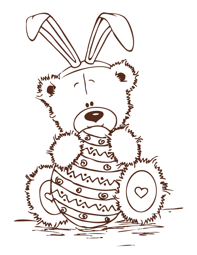 Adorable ourson de Pâques à dessiner