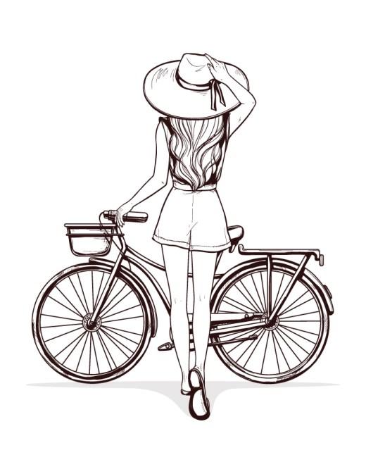 Coloriage adulte vélo été à imprimer