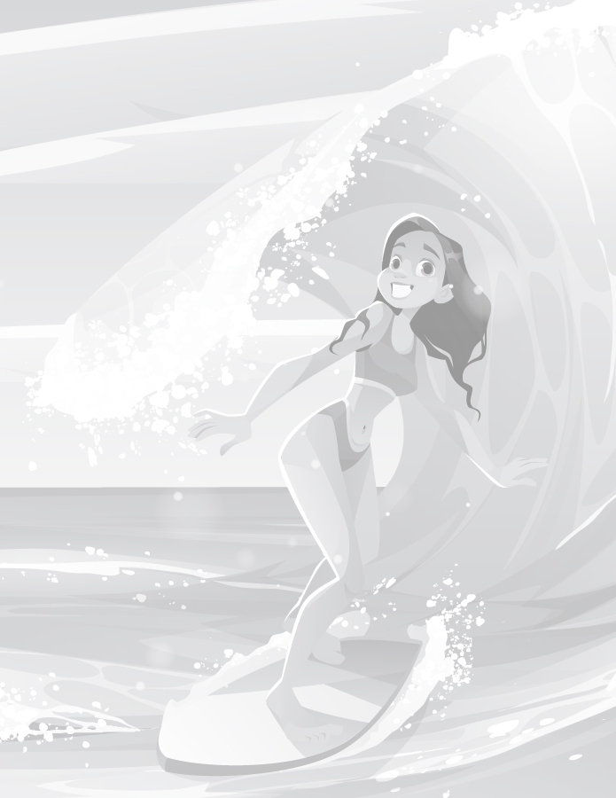 Coloriage grayscale femme surf