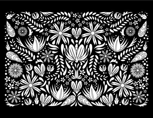 Fleurs tapisserie fond noir à dessiner