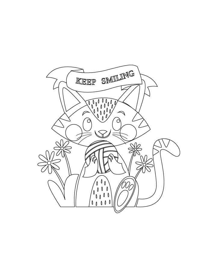 Mignon chat keep smiling à colorier
