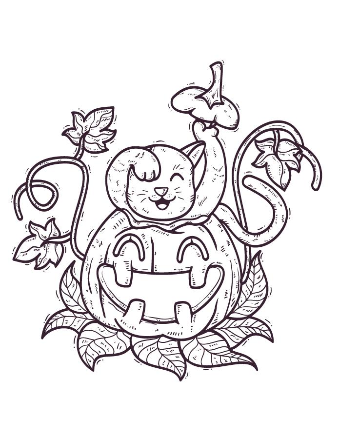Joyeux chat citrouille dessin halloween