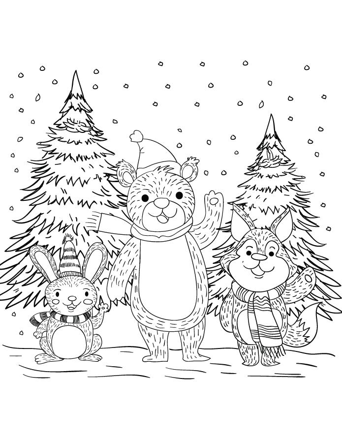 Joyeux animaux hiver à dessiner