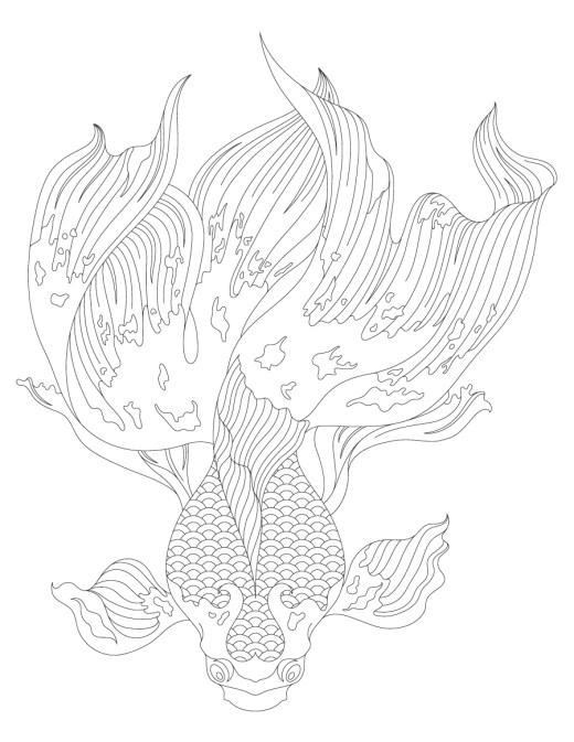 Magnifique dessin poisson à colorier
