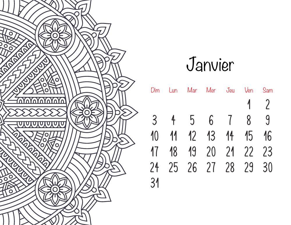 Calendrier 2021 Janvier mandala