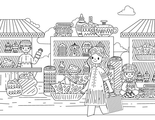 Shopping bazar été coloriage
