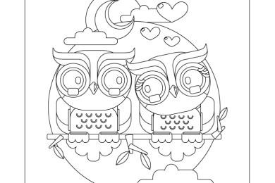 Dessin à colorier hiboux amour