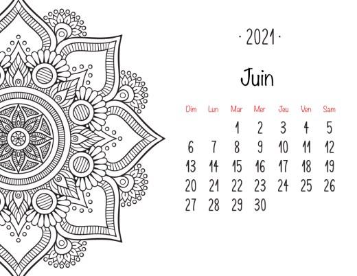 Calendrier à colorier Juin 2021