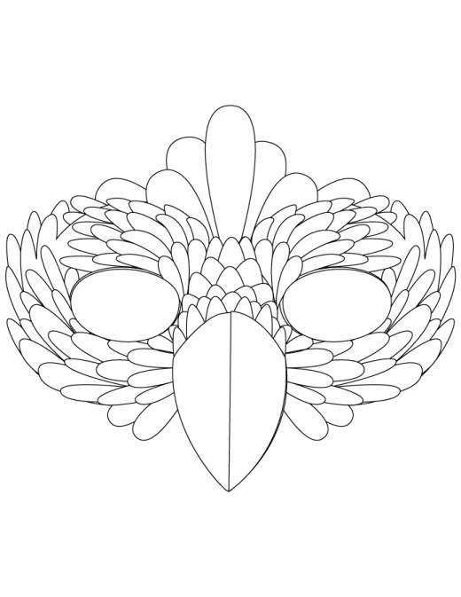 Masque oiseau à imprimer et colorier