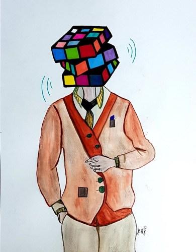 BMP – Un gentleman avec une tête en Rubik's cube