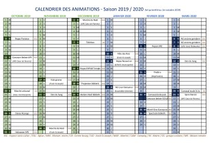 Calendrier des animations 2019-2020