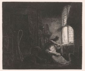Ferdinand Bol, Holy Family in a Room, etching, Rijksmuseum