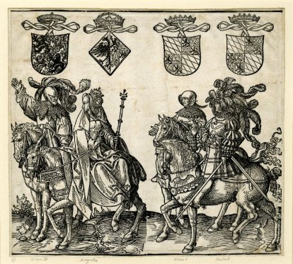 8. Sheet from the Counts and Countesses of Holland series; William IV, Margaret (riding side-saddle and holding a sceptre), Willem V and Adalbert (with a flamboyant plumed head-dress); above are coats-of-arms; two blocks, 1518, 23.4x26 cm, British Museum