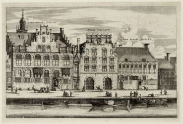 20. Headquarters of the Handboog and Voetboog civic guards on the Singel, anonymous engraving, 17th century, Amsterdam City Archive