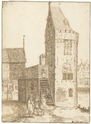 "19. The medieval gate tower ""Swijgh Utrecht"" with footbridge across the road leading to the shooting range, headquarters of the Kloveniers, David Vinckboons, drawing, 1599-1600, Rijksmuseum"