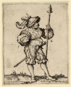 Teodoro Filippo de Liagno, Landsknecht, c. 1610-30, engraving, British Museum