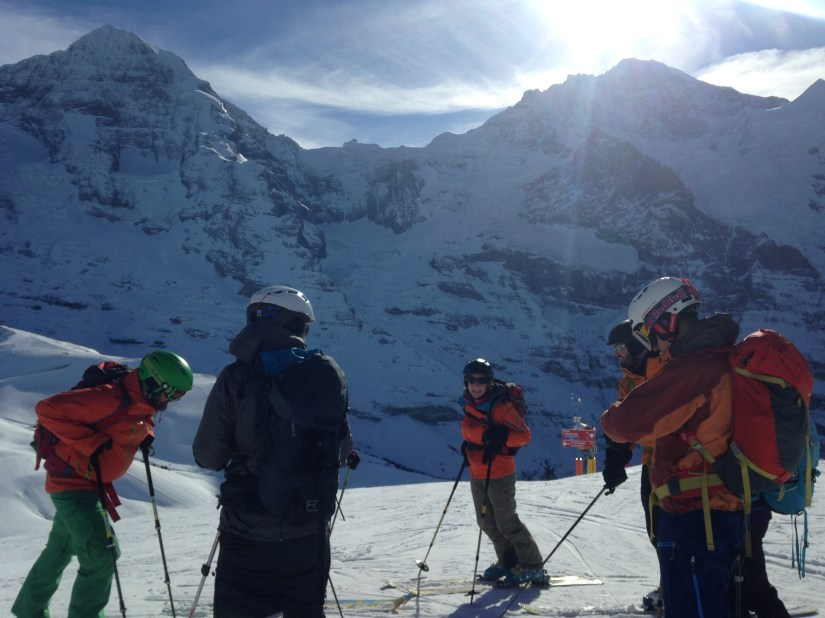 Skiing below the Eiger North Face