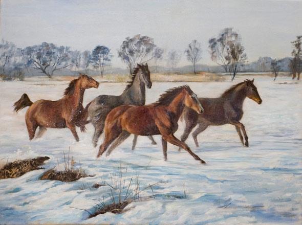 Учимся рисовать лошадь в движении. Учебная масляная живопись