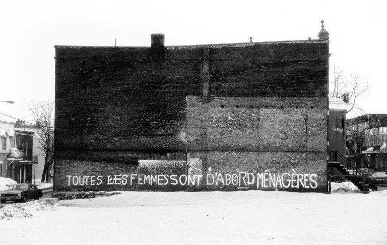 Affiche « Toutes les femmes sont d'abord ménagères », à partir d'une photo de Raymonde Lamothe, 1978. Source : site web écomusée du Fier monde