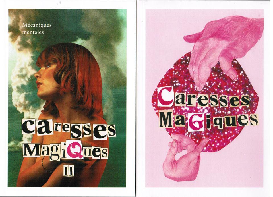 Premières de couverture des deux tomes de Caresses magiques. Source: page Facebook Caresses magiques