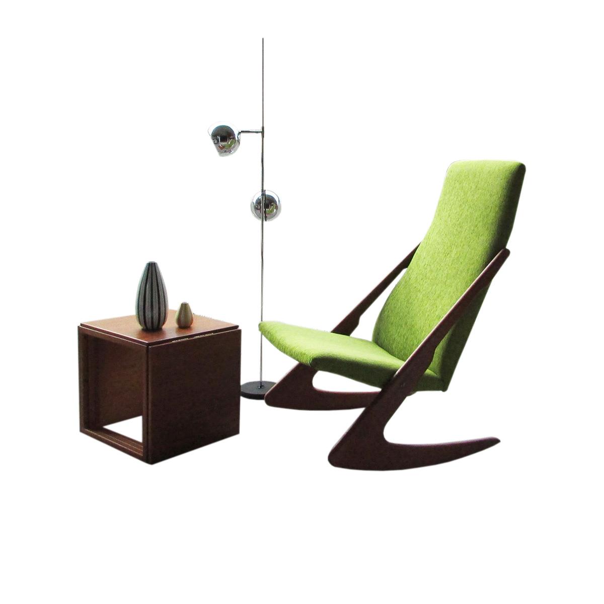 vintage teak boomerang rocking chair