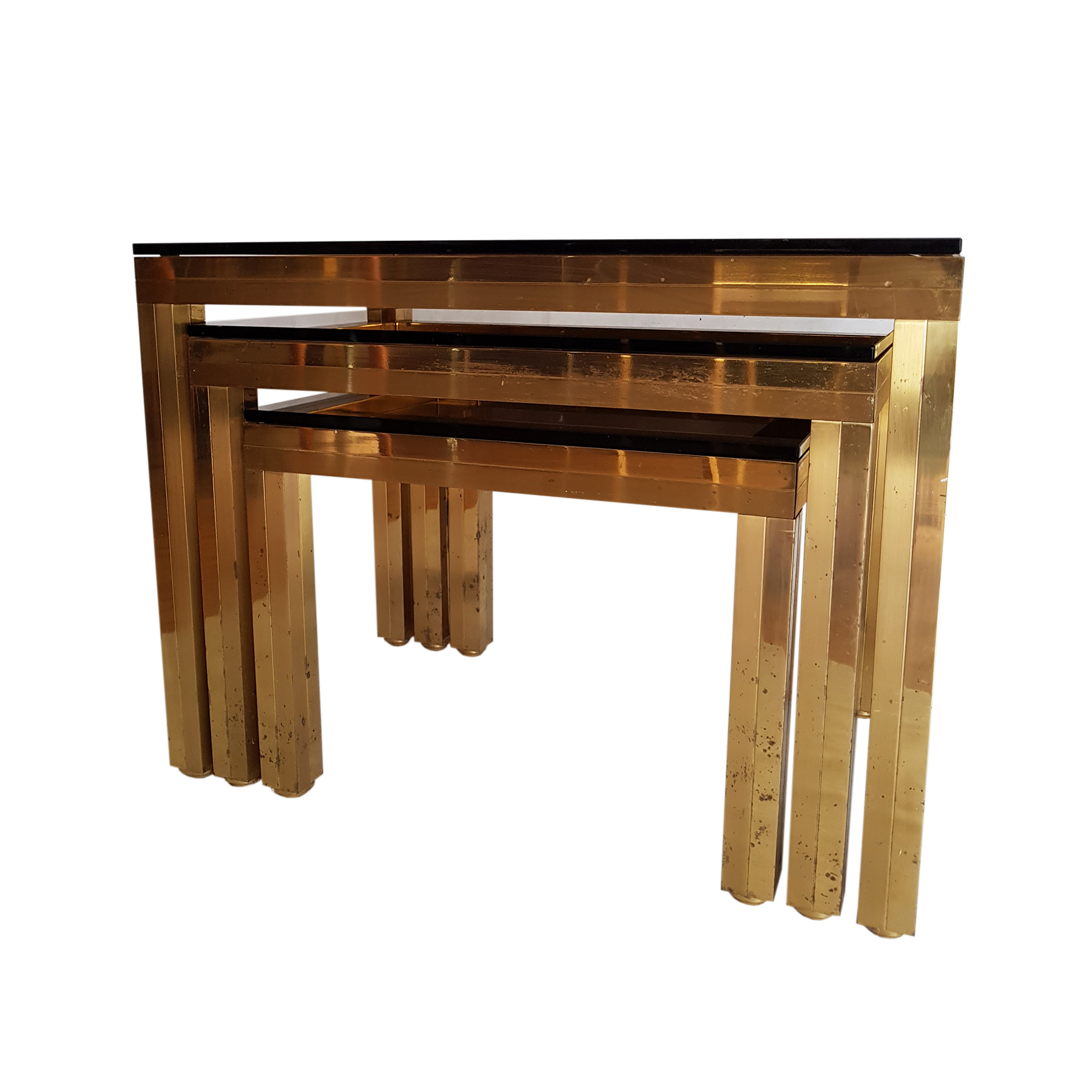 nesting tables mid century gold