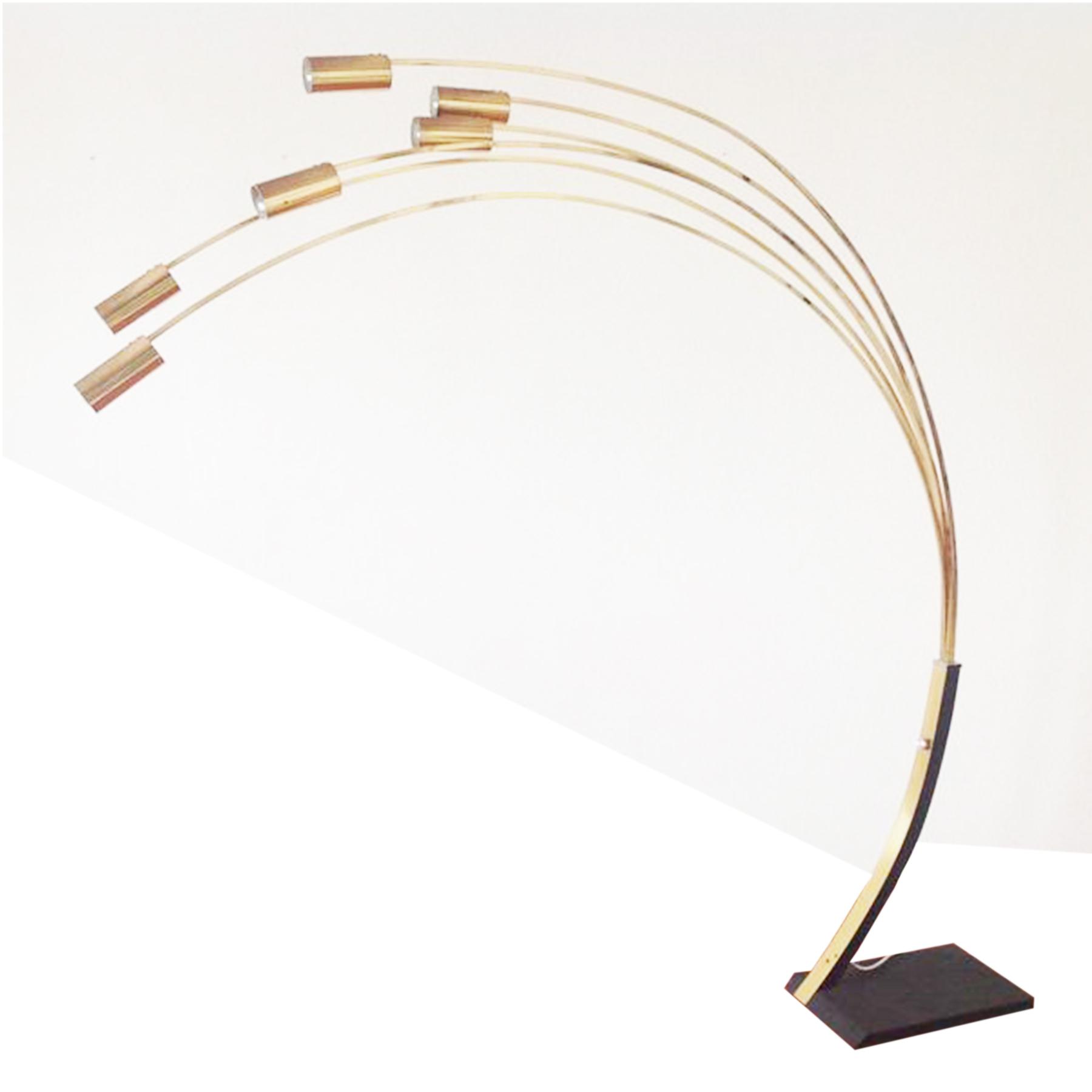vintage design curved six arms golden floor lamp