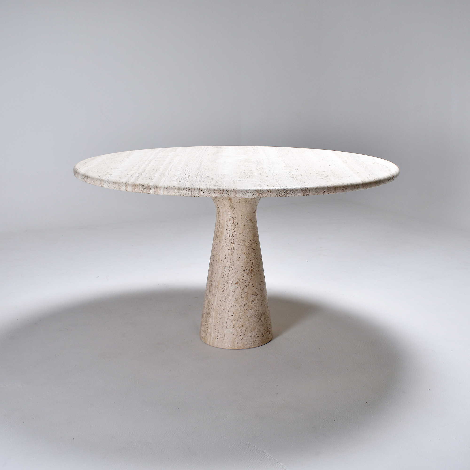travertine round dining table