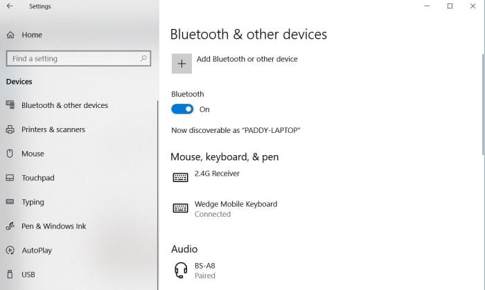 قائمة البلوتوث على نظام التشغيل Windows 10