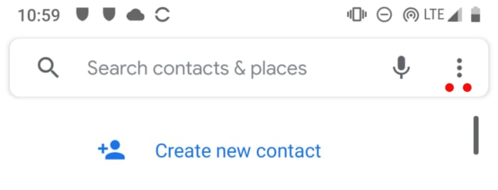 رمز القائمة في تطبيق جهات اتصال Android