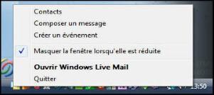 Comment réduire Windows Live Mail et conserver son icône dans la barre du bas ?