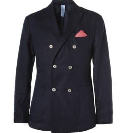 Faconnable Double-breasted Cotton And Linen-blend Blazer