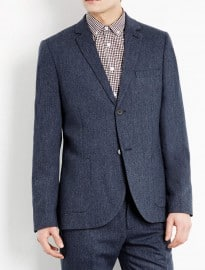 Topman Premium Blue Tweed Suit Jacket