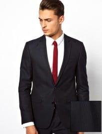 Asos Slim Fit Jacket In Pinstripe