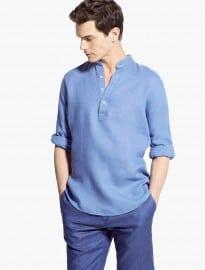 He By Mango Classic-fit Mao Collar Linen Shirt