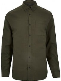 River Island Green Flannel Long Sleeve Shirt