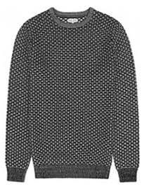 Reiss Bruge Contrast Weave Jumper Black/off-white