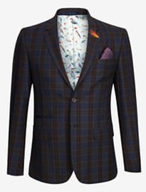 Ted Baker Sabines Tight Lines Checked Wool Blazer