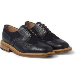 f82ffa8485e Mark Mcnairy Pebble-grain Leather And Tweed Panelled Brogues ...