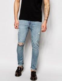 Cheap Monday Jeans Tight Skinny Fit Posté Worn Blue Distressed