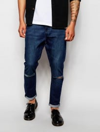 Cheap Monday Jeans Drops Crotch Skinny Fit Prosper Mid Wash Knee Rips
