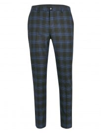 Topman Selected Homme Brown And Blue Check Trousers