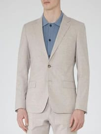 Reiss Wilson B Flecked Slim-fit Blazer Stone