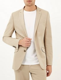 River Island Cream Cotton Woven Slim Suit Jacket