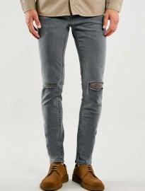 Topman - Jean skinny stretch à déchirures doubles aux genoux gris